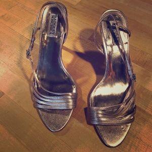 Badgley Mischka Rose Gold leather high heels
